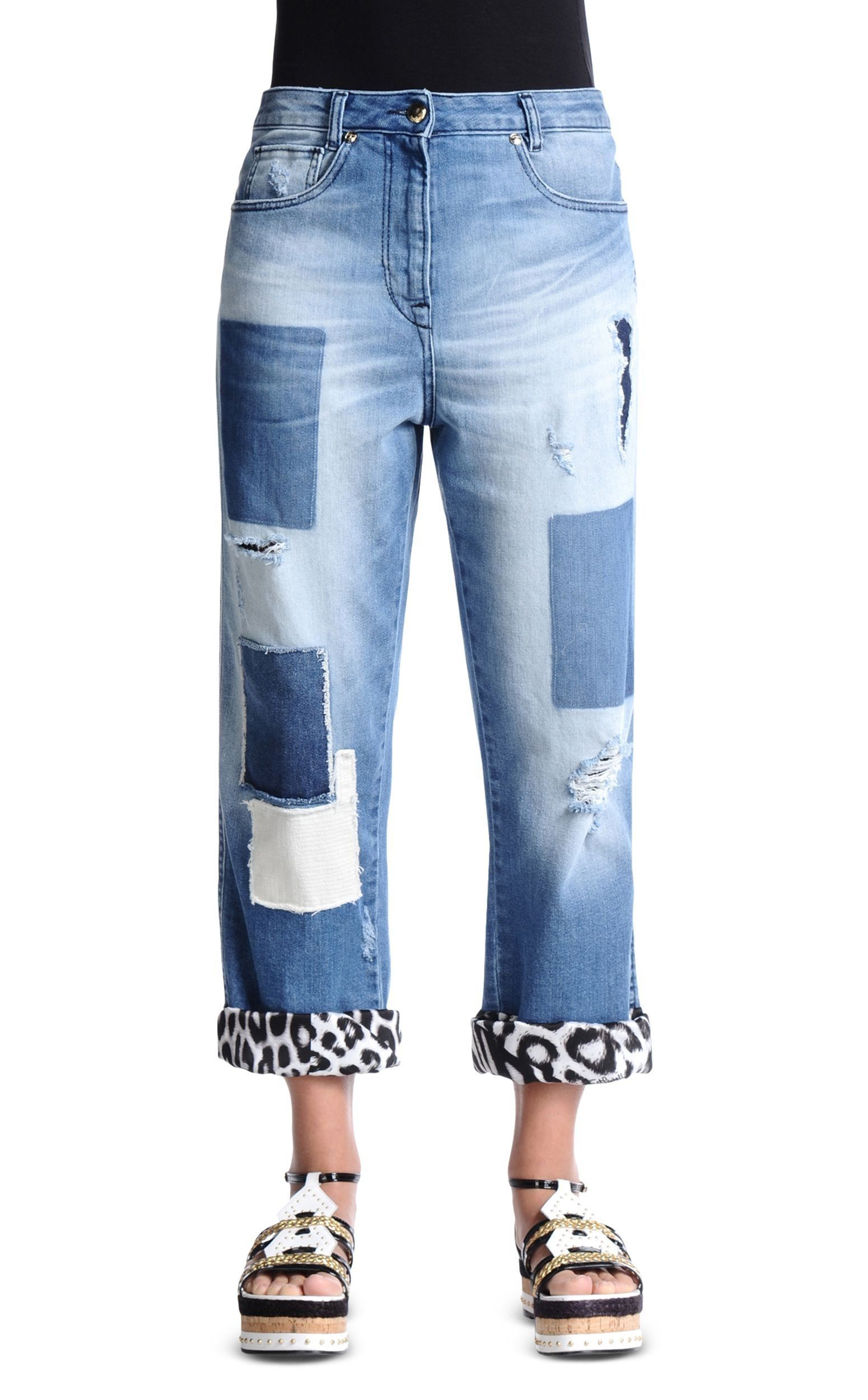 """Just Cavalli Women's Blue Distressed Boyfriend Jeans US 26 IT 40. Material: 98% Cotton 2% Spandex. Made in Italy. Measured Waist: 28"""" Rise in inches: 11.5"""". Inseam: 29"""" Leg Opening: 8""""."""