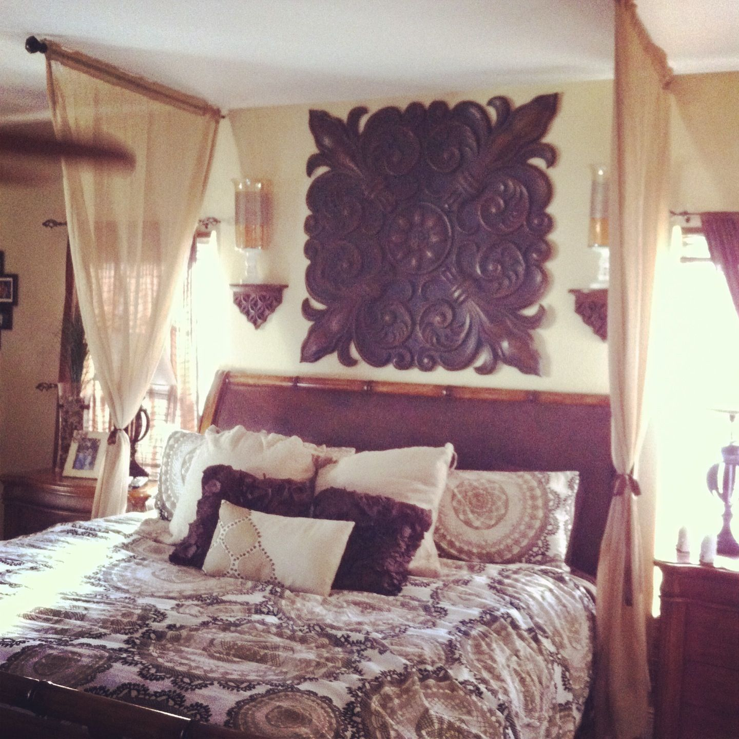 Curtain Rods & Window Drapes Hung Over Bed...romantic