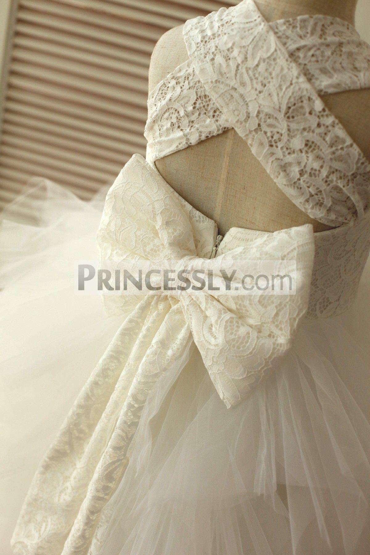 15d71807f1d Princess Cross Back Ivory Lace Ruffle Tulle Skirt Flower Girl Dress ...