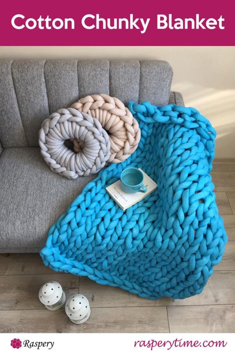 Cotton chunky blanket chunky knit blanket diy chunky