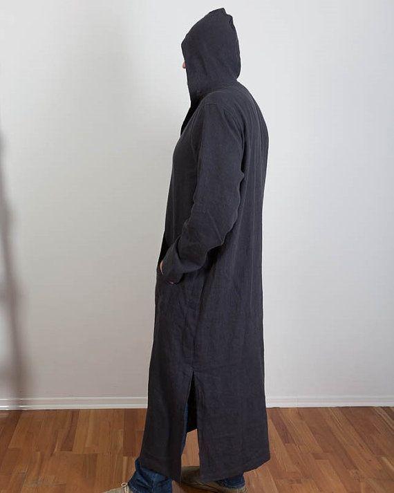 1066339918 Mens Linen Caftan Night Shirt Long shirt Homewear Hooded Linen Robe ...
