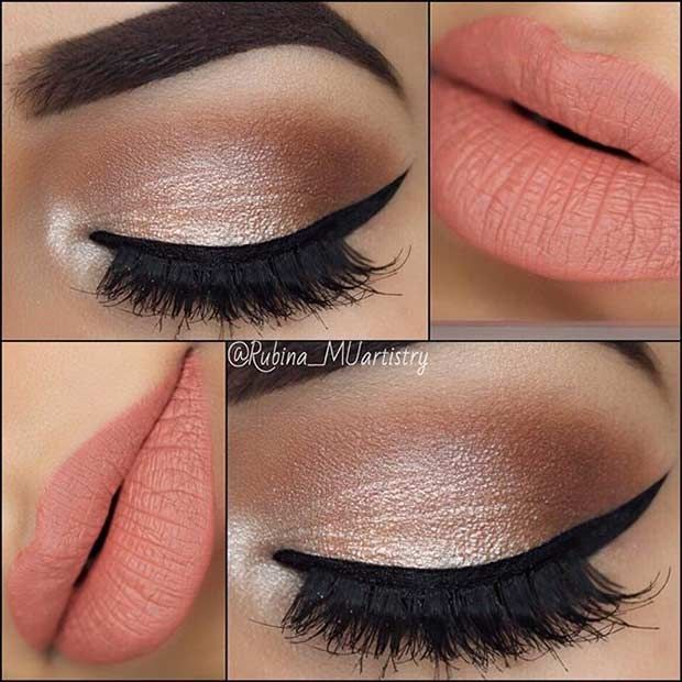 Neutral Eyes and Peach Lips Makeup Look for Prom | Wardrobe ...