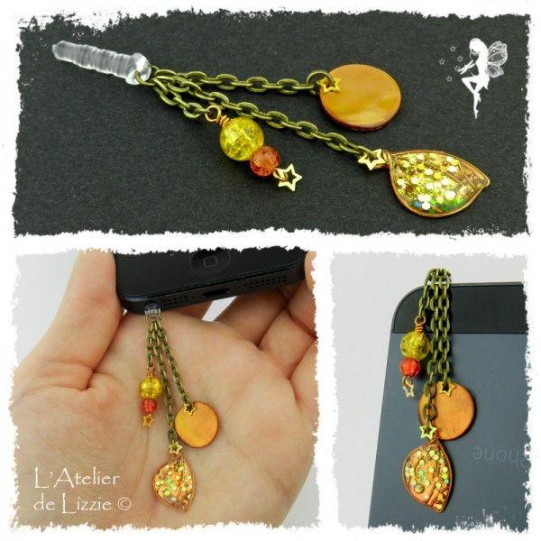 Bijou de téléphone - Mini Aile 1 Orange/EauScintillante+Paillettes, argenté