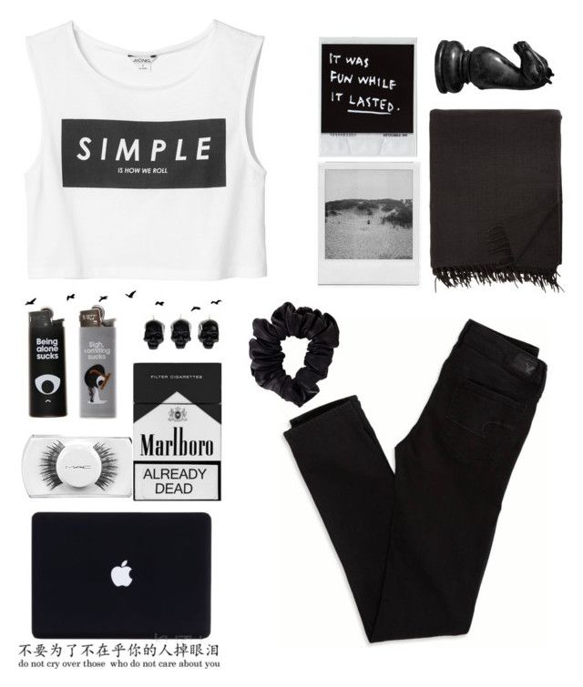 """""""black"""" by lisadays ❤ liked on Polyvore featuring Monki, Armand Diradourian, American Eagle Outfitters, MAC Cosmetics, American Apparel and D.L. & Co."""