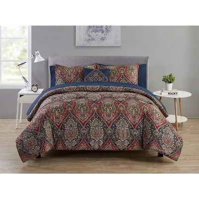 Vcny Home Dion Burgundy Navy Damask Bed In A Bag Comforter