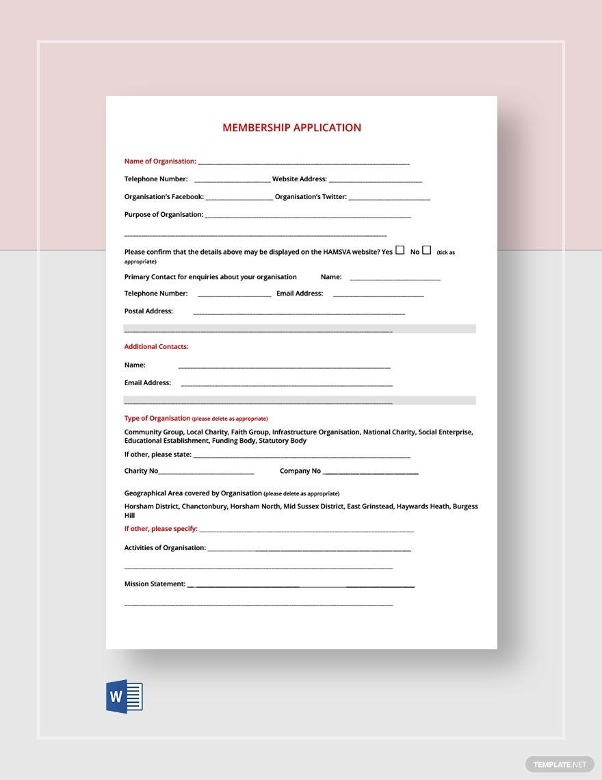 Membership Application Form Template Word Template Net Application Form Templates Printable Free Funeral Program Template