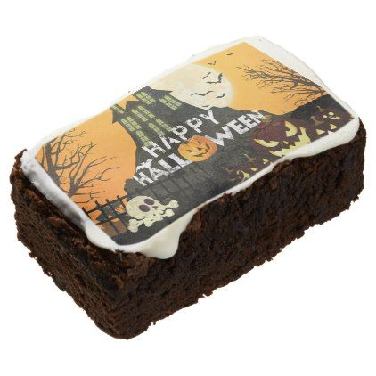 Spooky Haunted House Costume Night Sky Halloween Chocolate Brownie | Zazzle.com #halloweenbrownies