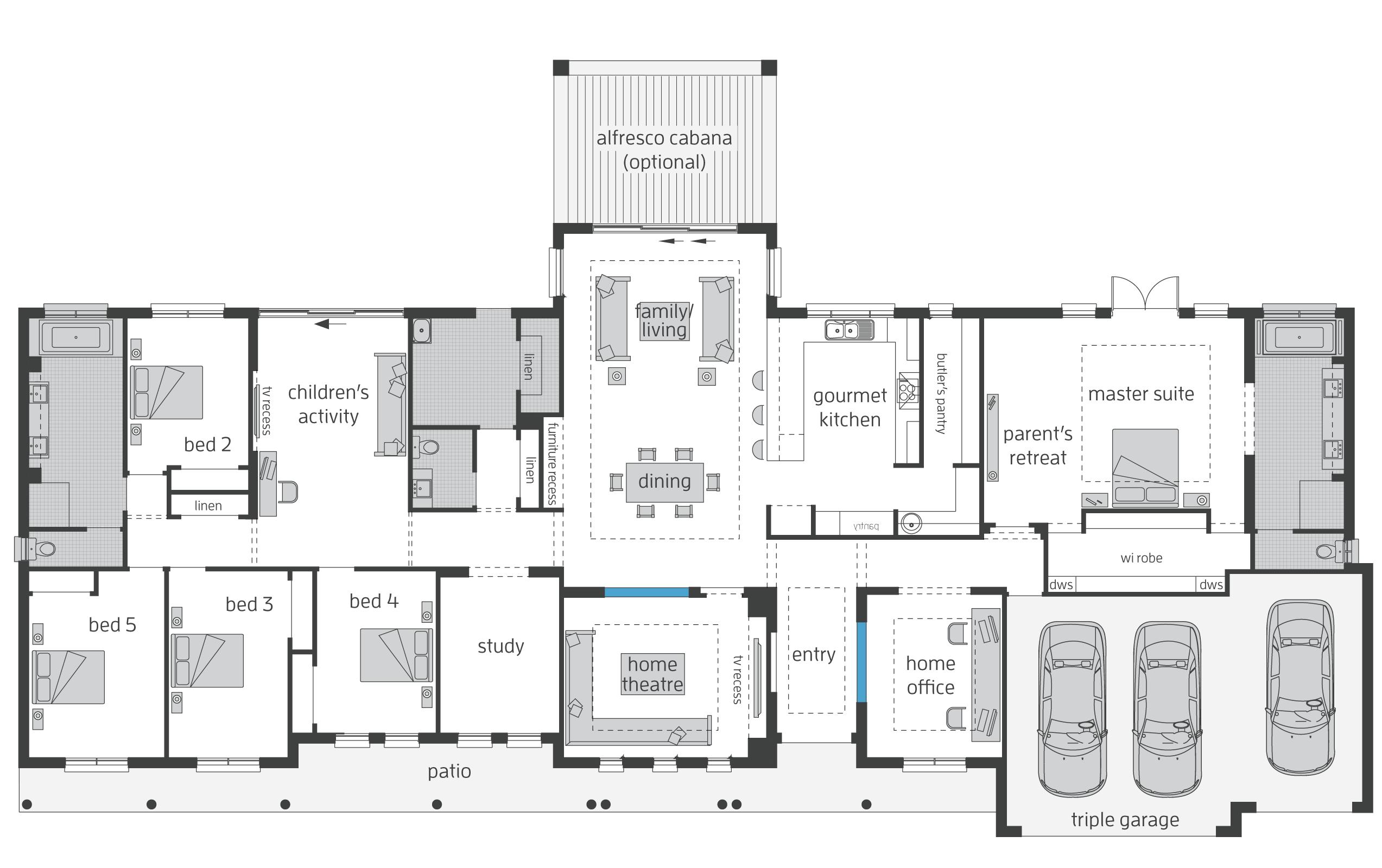 4 Bedroom House Plans Open Floor Rectangle