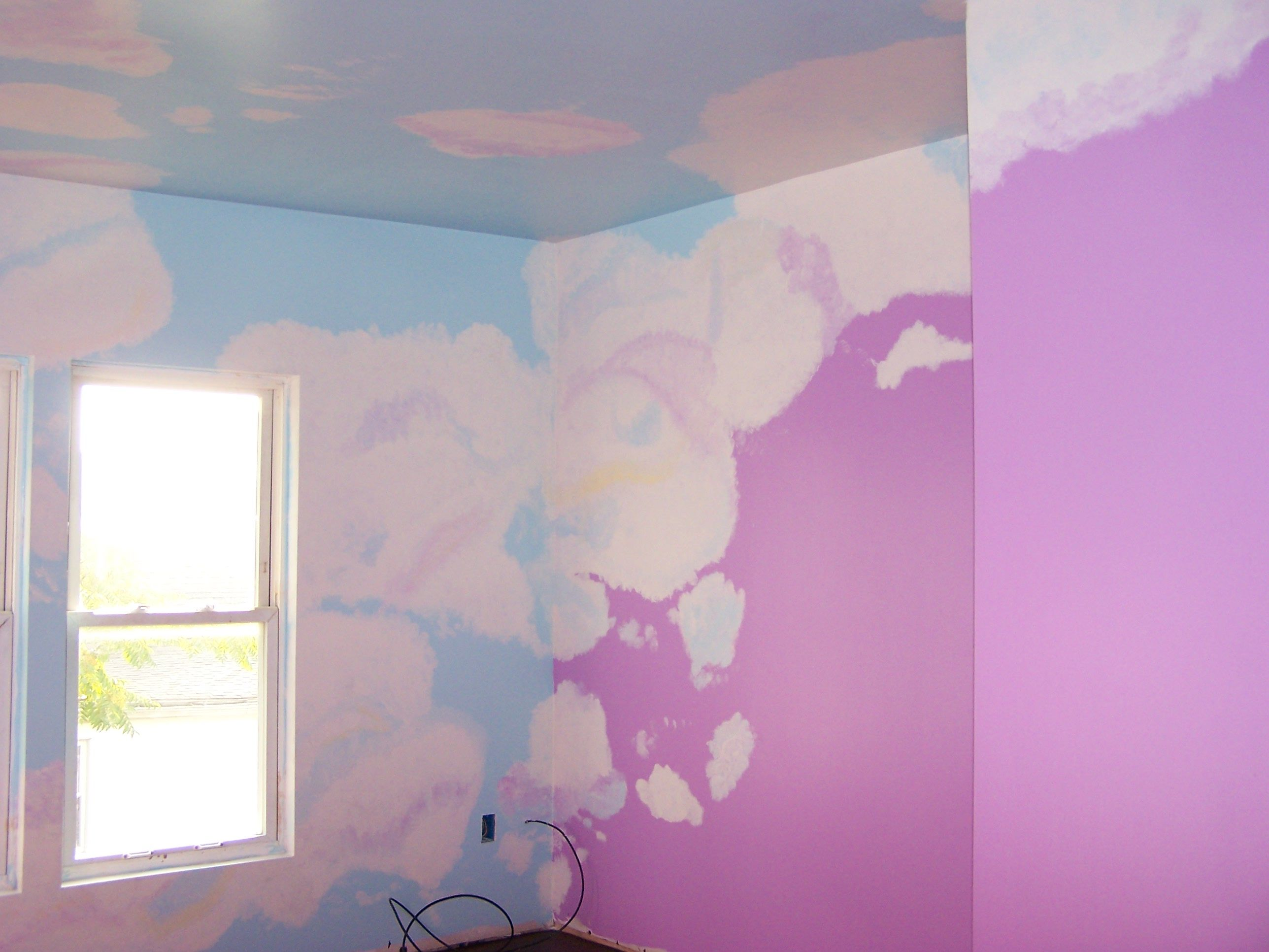 Painted Clouds on ceiling and wall of my little girls room ...