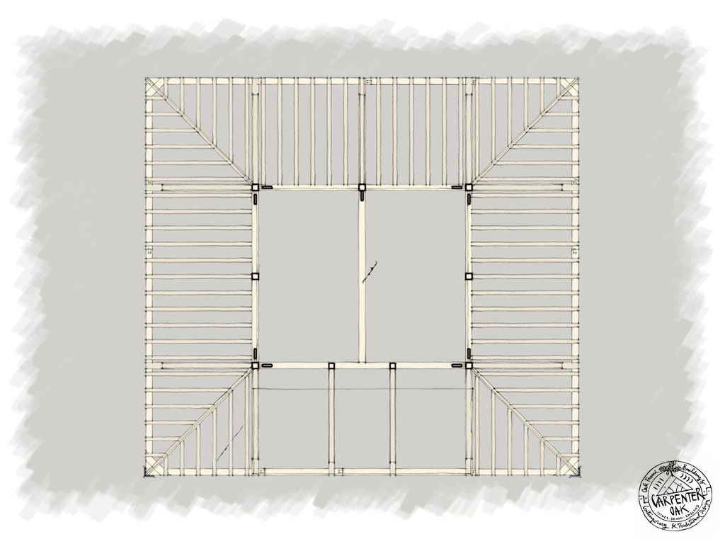 Frame Drawing of Contemporary Green Oak Wood Framed House in ...