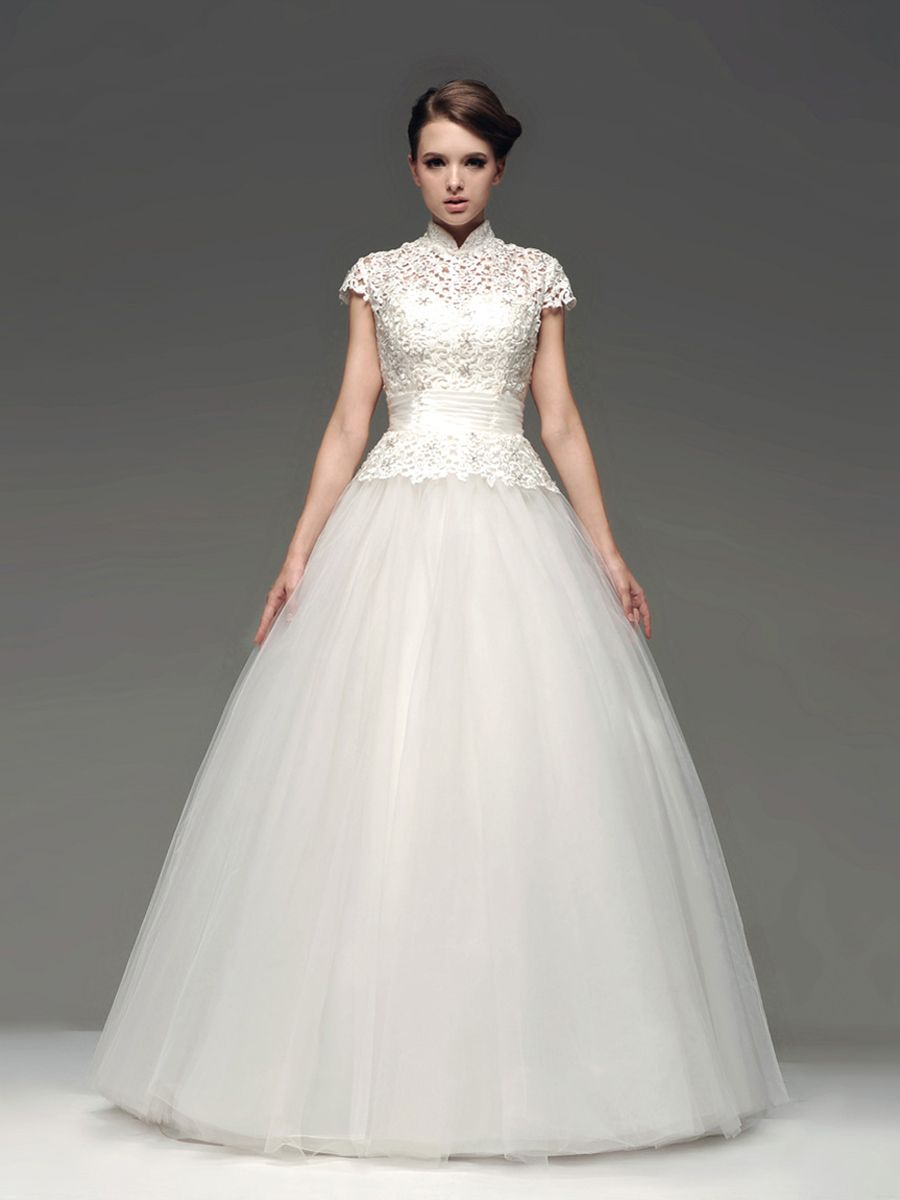 High neck tulle ball gown with lace bodice brandssblfreeship