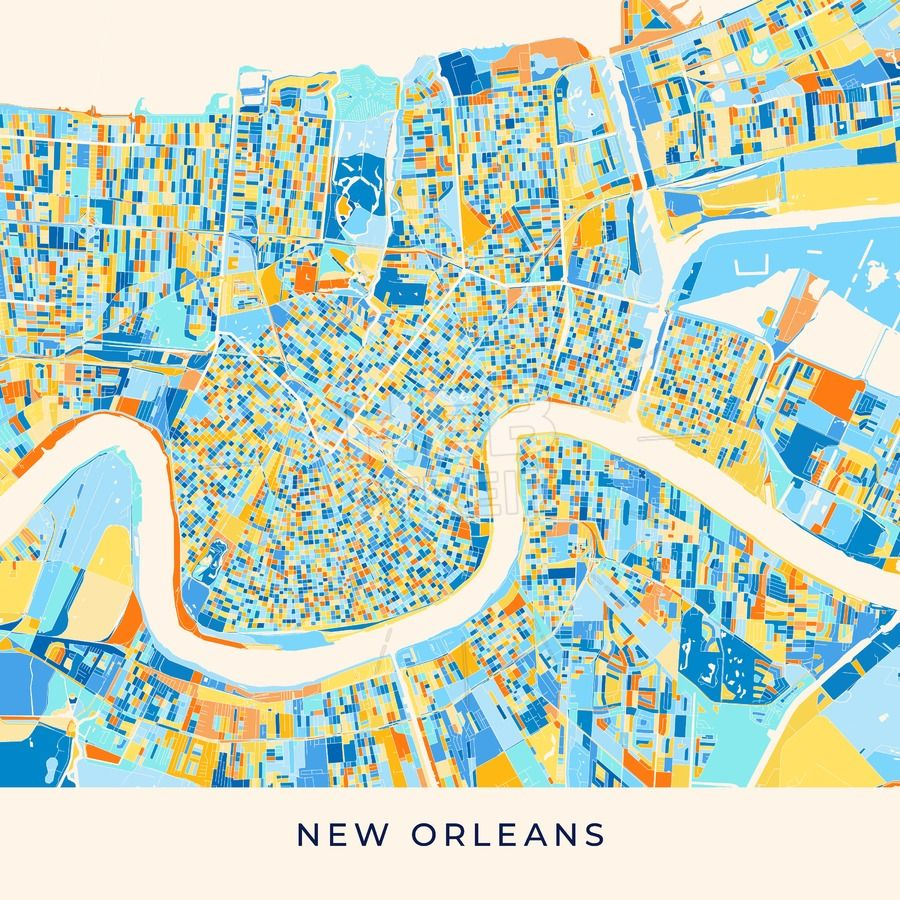 New Orleans Colorful Map Poster Template Maps Vector Downloads