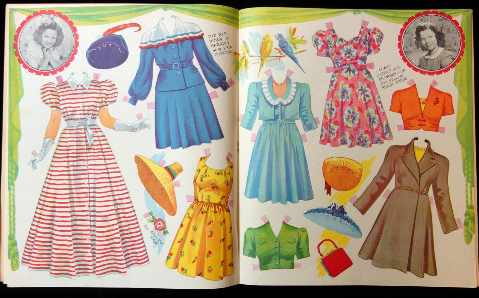 """Each page has a vignette of an image from a photograph of Shirley Temple in one of her rolls. This is an original book, it is NOT a reproduction. The title is """"The New Shirley Temple in Paper Dolls - Authorized Edition."""".   eBay!"""