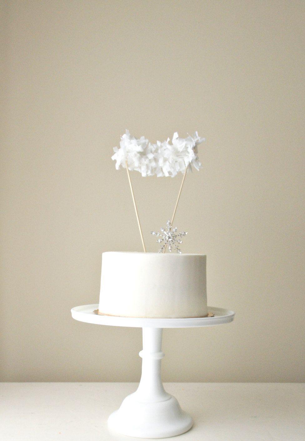 Winter White Fringe Garland Cake Topper (with custom banner ...