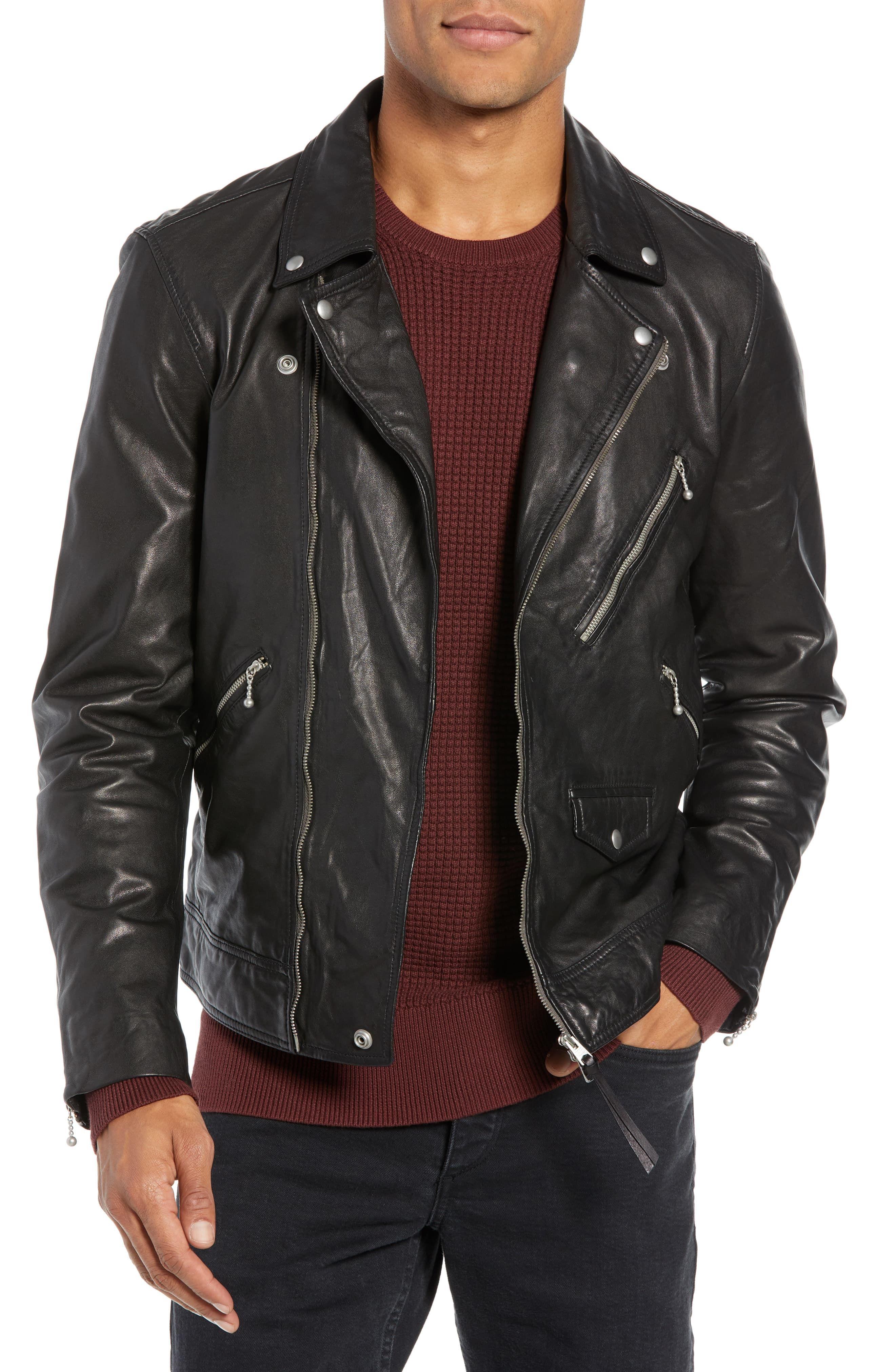 Allsaints Holt Slim Fit Leather Biker Jacket Nordstrom Black Leather Jacket Men Mens Leather Jacket Biker Biker Jacket [ jpg ]
