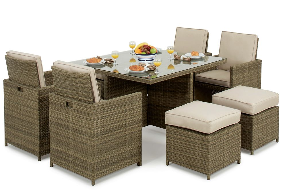 Maze Rattan Garden Furniture Tuscany 4 Seater Cube Set With