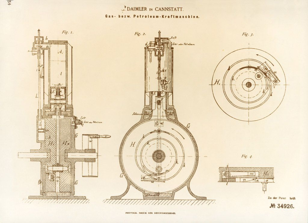 On April 3, 1885, Gottlieb Daimler applied for a patent on his water