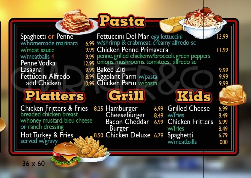 Custom designed restaurant menu board by Character\Co Menu - how to make a restaurant menu on microsoft word