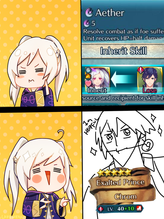 When you feed Chrom away for aether, Robin thinks No
