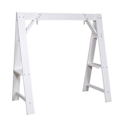 Lifestyle poly resin a frame swing stand finish white for White porch swing with stand