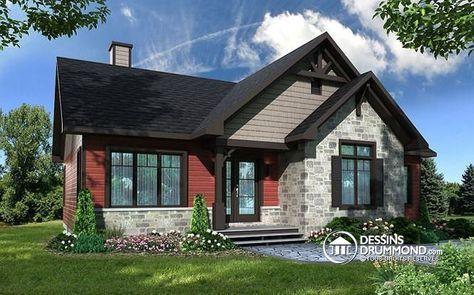 W3154 - Maison style champêtre rustique, 3 à 5 chambres, grand walk - plans de maison moderne