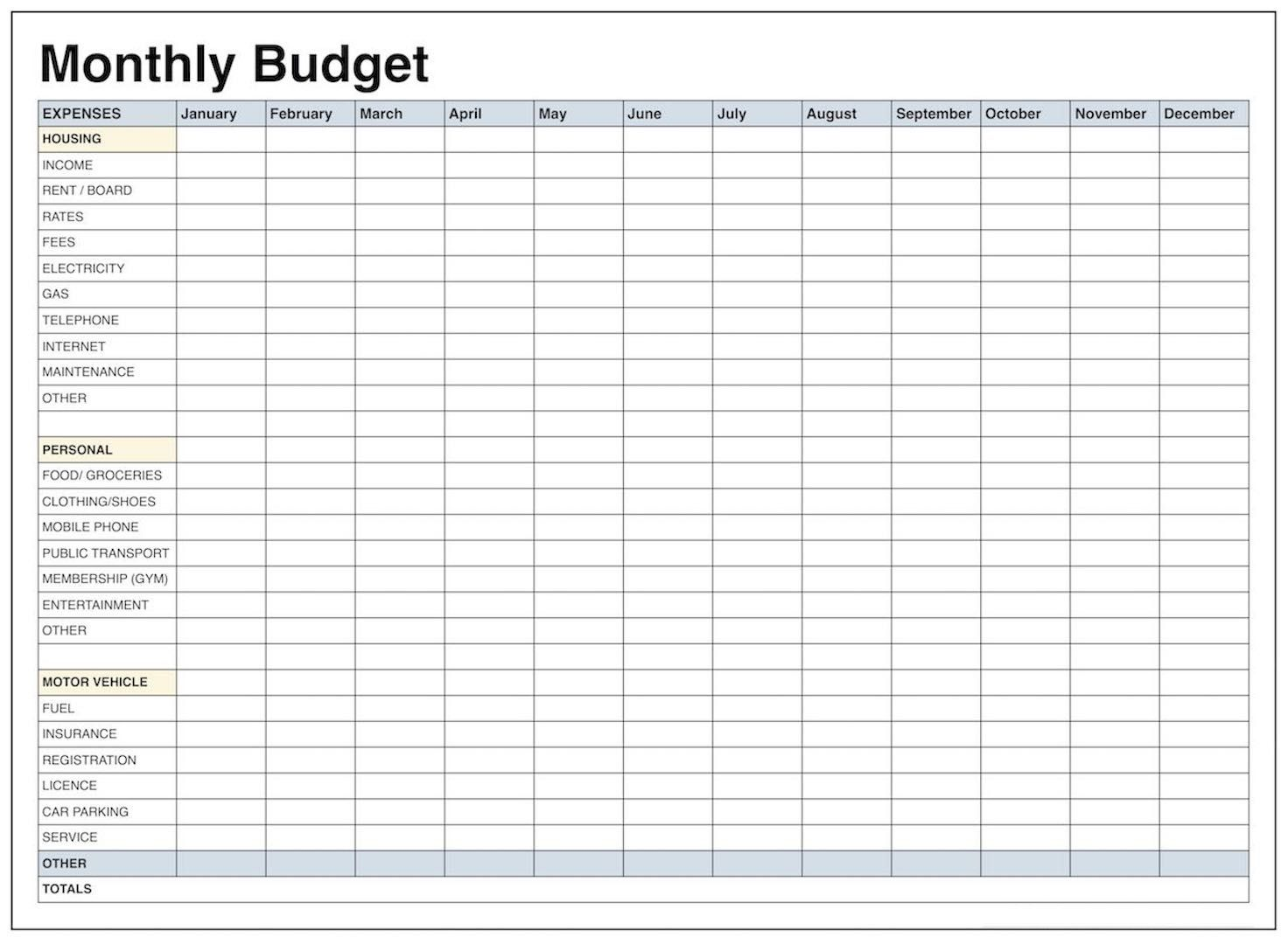 Family Monthly Budget Worksheet