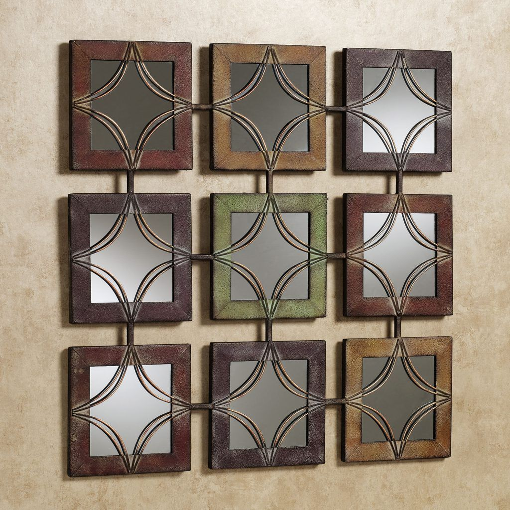 Wall art decor domini metal mirrored textured square frames glass