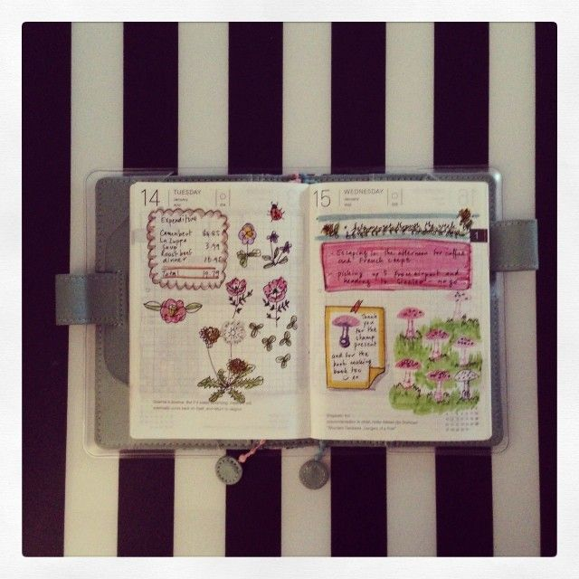 sardonicsmiledotcom:  Trying to keep a daily record of stuff, even if its a few drawings on a page. The Hobonichi Techo (planner) is a great...
