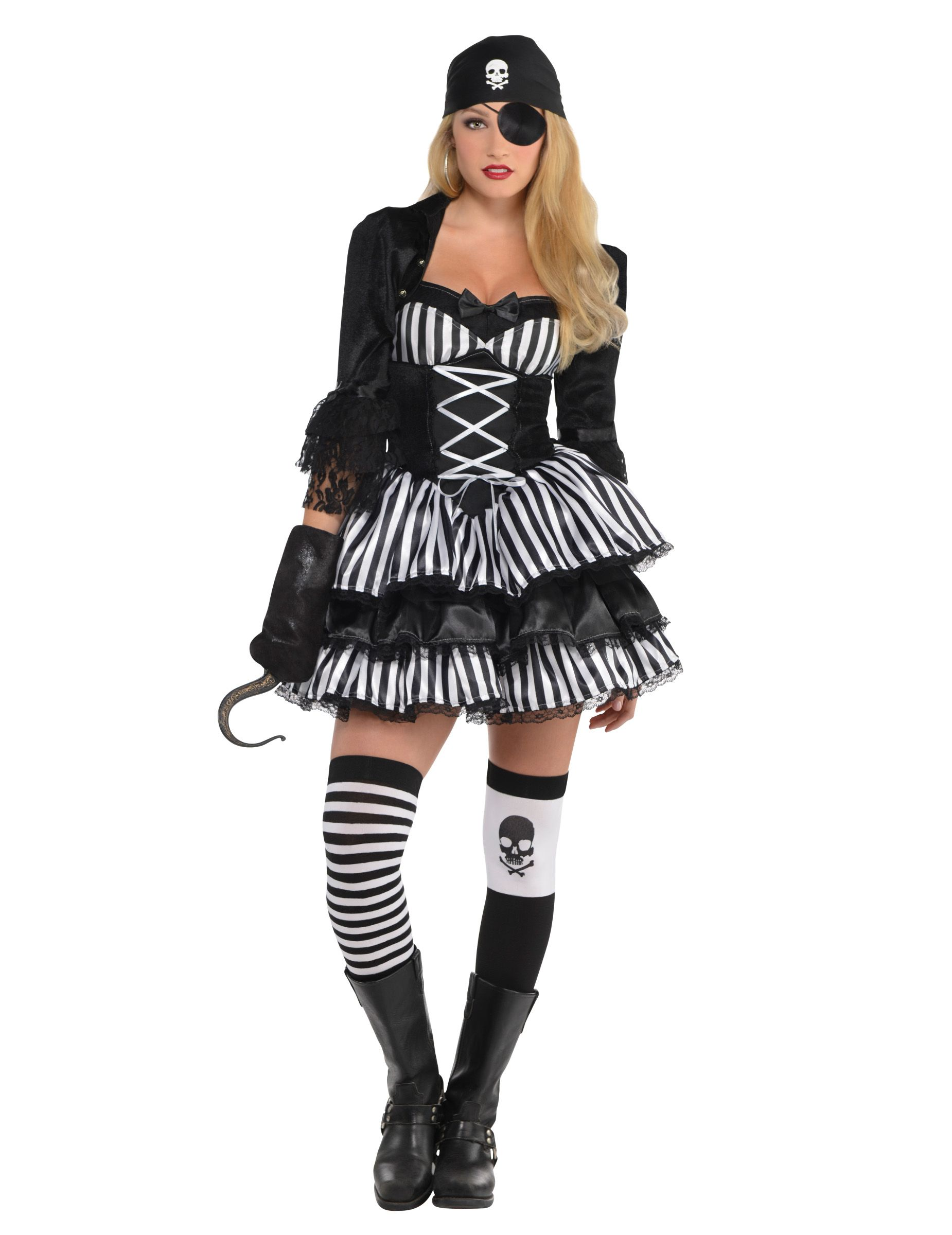 Costume piratessa bianco e nero per donna  Questo travestimento da corsaro  a righe bianche e nere comprende un vestito 9b70c555740