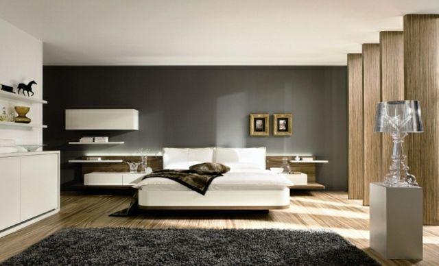 Wandgestaltung graue Farbe weiße Möbel Schlafzimmer Schlafzimmer - wandgestalten mit farbe