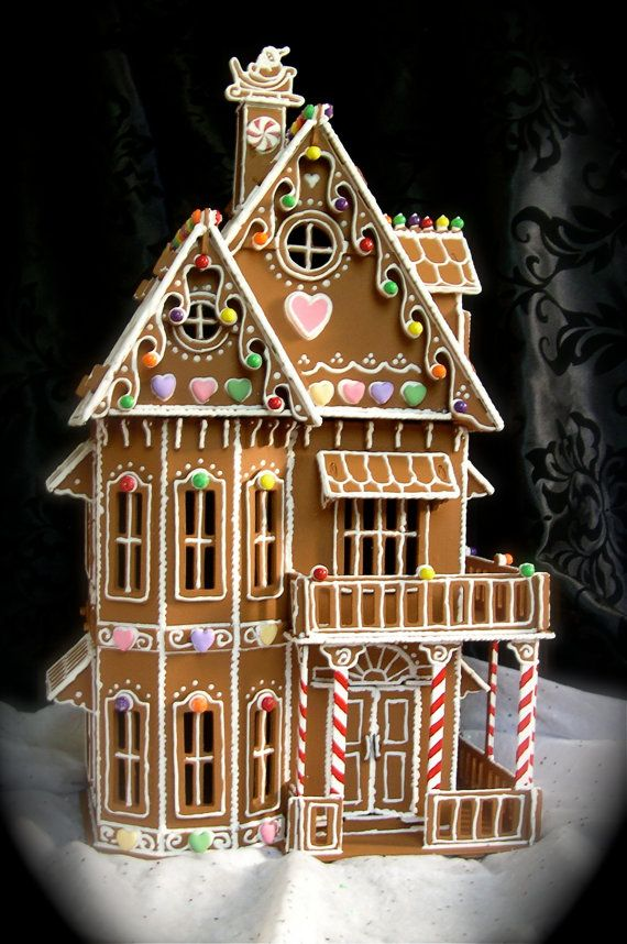 Faux Gingerbread House In The Victorian Style Cool Gingerbread Houses Christmas Gingerbread House Gingerbread House Template