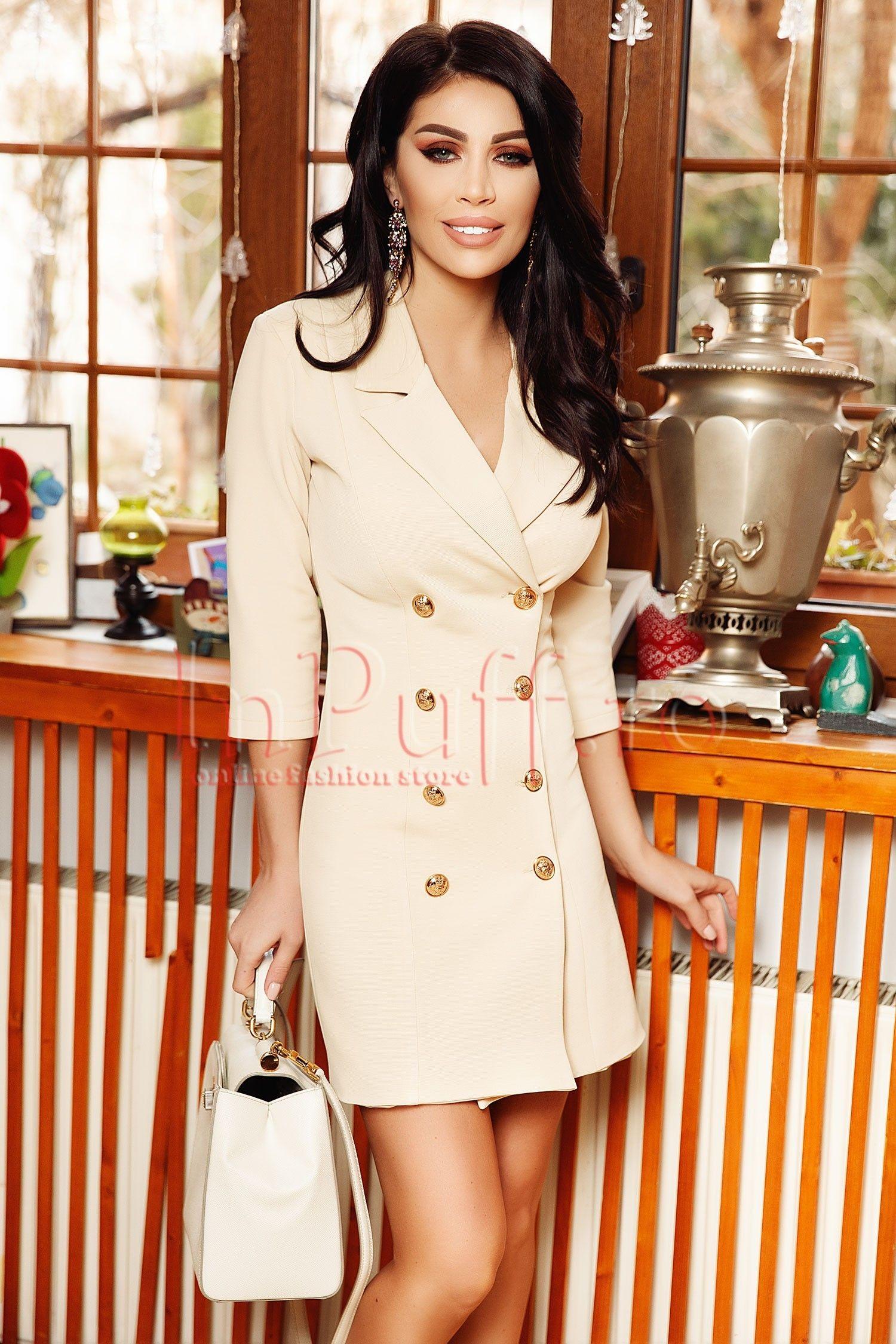 sarafan atmosphere beige with gold buttons magazin online haine de dama rochii de ocazie inpuff ro beige dresses girl fashion fashion pinterest