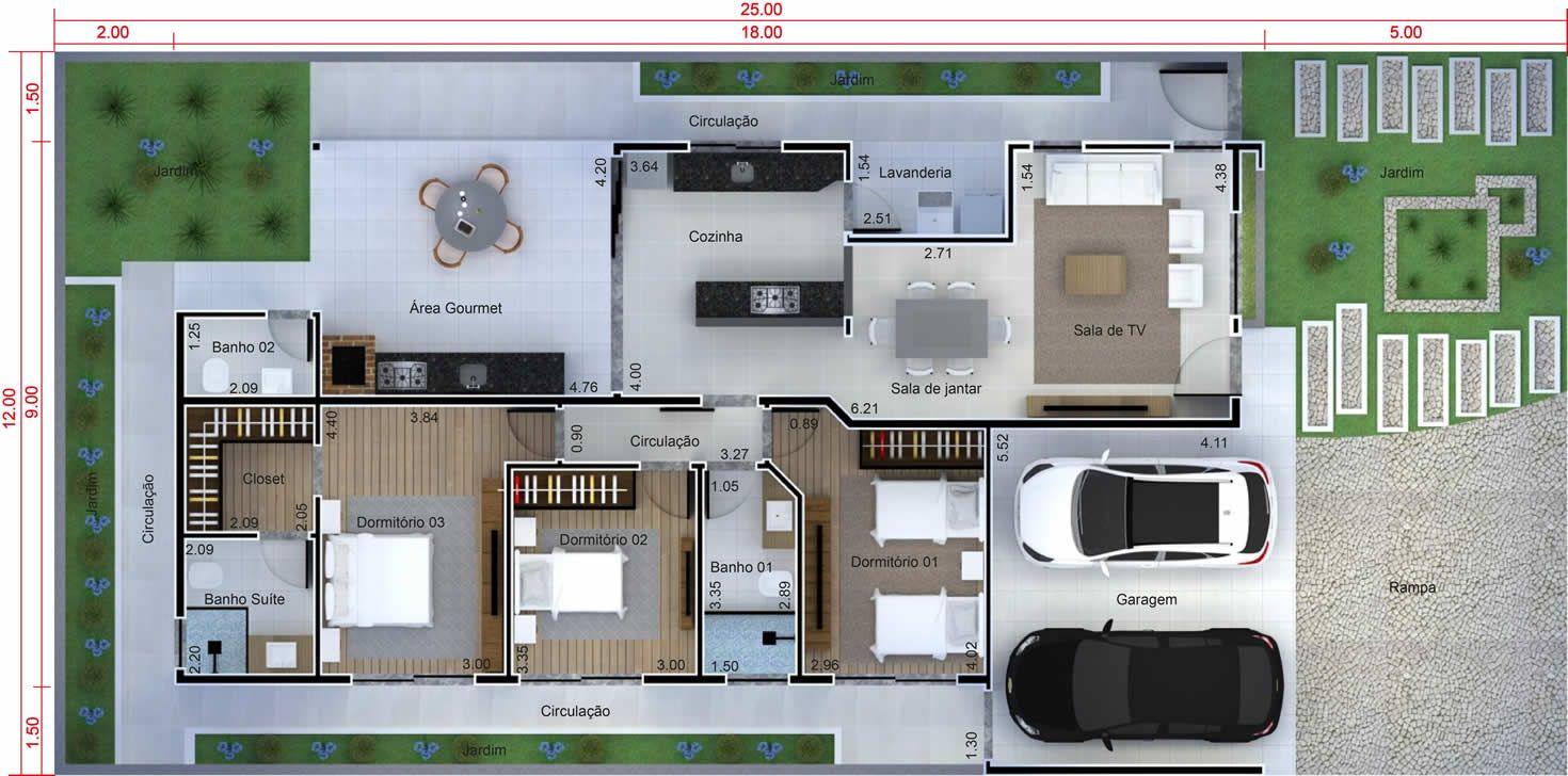 Planos De Casa Con Cocina Integrada Plano Para Terreno 12×25