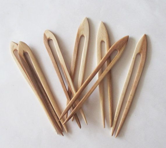 Handmade short wooden HAIR JEWELRY PIN FORK PICK natural Sono wood new organic