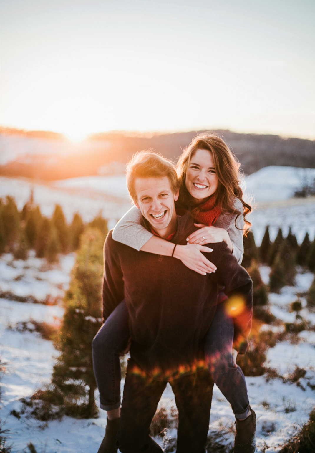 Winter Engagement At The Plaza Christmas Tree Farm Kansas City Photographer Winter Engagement Holiday Engagement Christmas Tree Farm