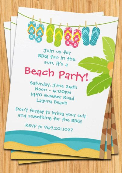 Summer Beach Party Invitation By Eventfulcards On Etsy 14 99 Beach Party Invitations Party Invite Template Bbq Party Invitations