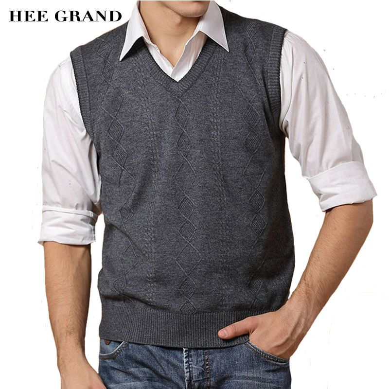 HEE GRAND New Arrival Men's Casual Slim V-neck Sweater Vest ...
