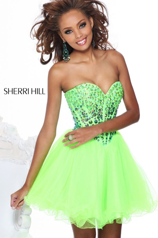 Cute and short lime green prom dress 2013 from Sherri Hill #prom2013 ...