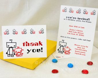Blue  Red Robot Party Invitations And Thank You Cards  Sample