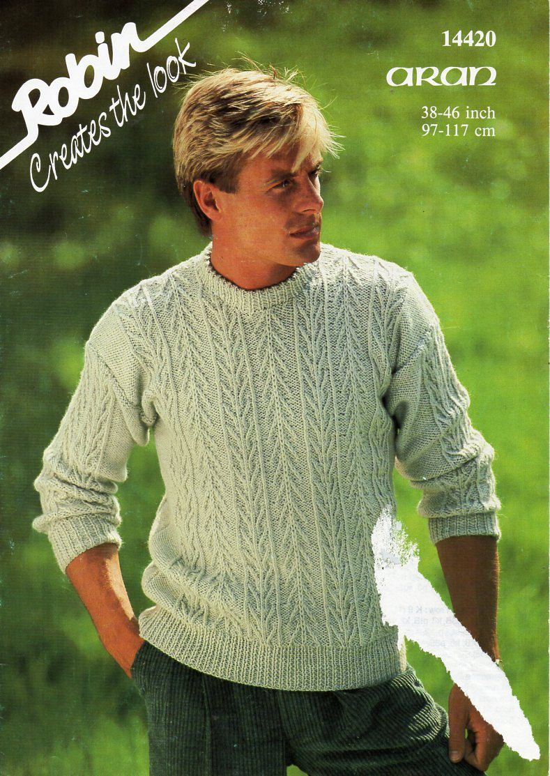 Mens aran sweater knitting pattern pdf cable crew neck jumper mens aran sweater knitting pattern pdf cable crew neck jumper vintage 38 46 inch aran worsted 10ply instant download bankloansurffo Gallery