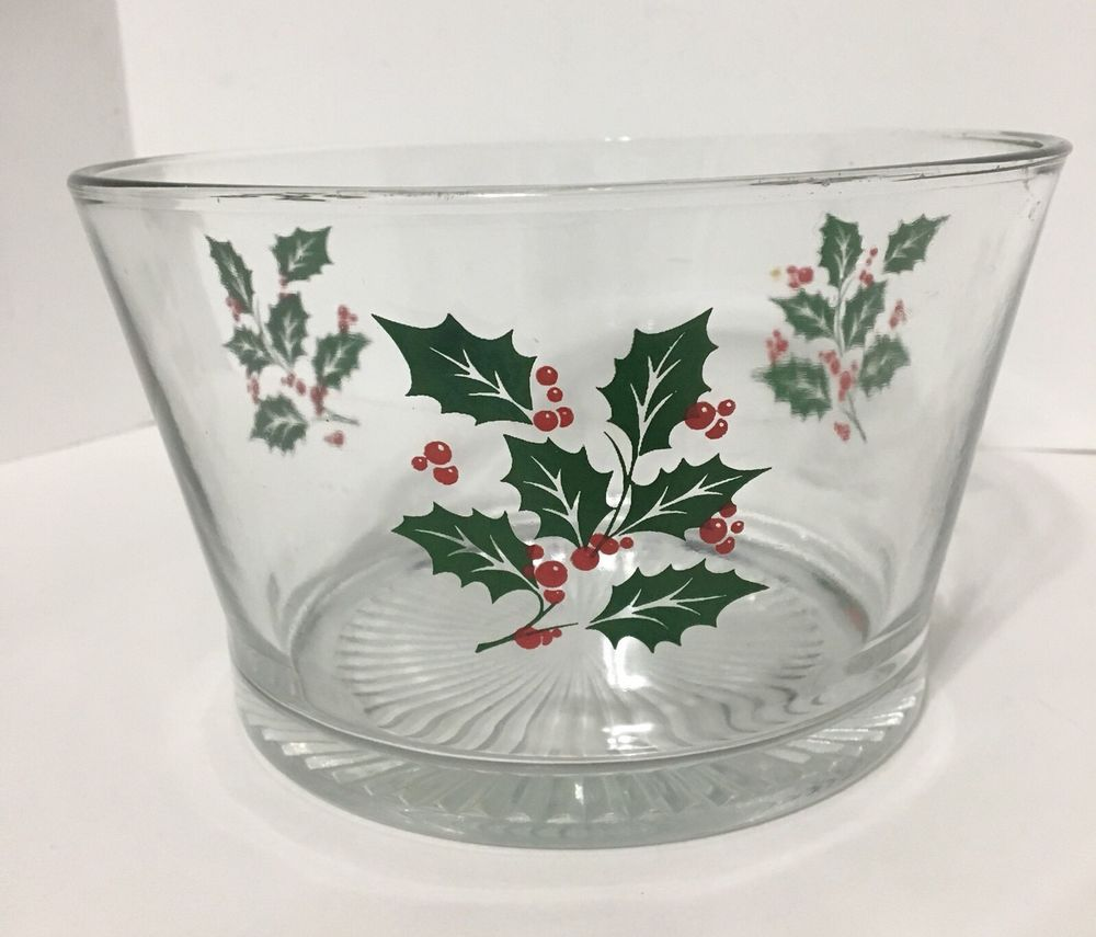 Vintage 1960\'s Indiana Christmas Holly Glass Ice Punch Chips Serving ...