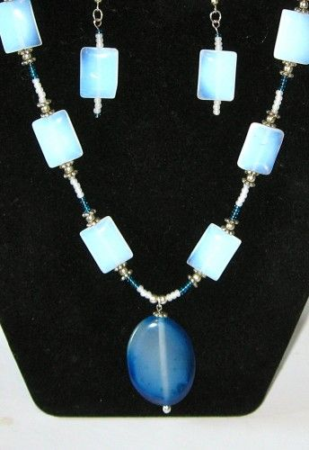 Blue Opalite Squares Necklace  Earrings
