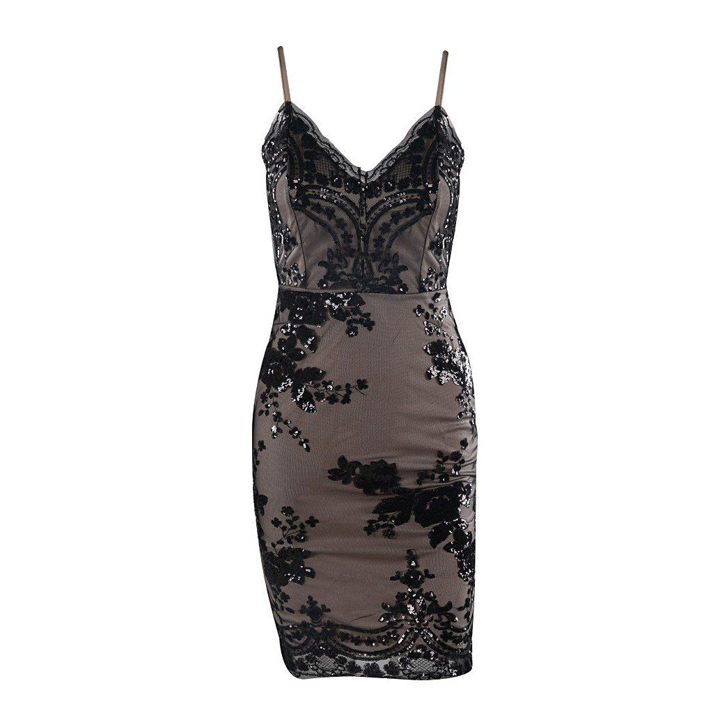 Evelyn Belluci Black Sleeveless Sequin Party Dress - Hangers and ...