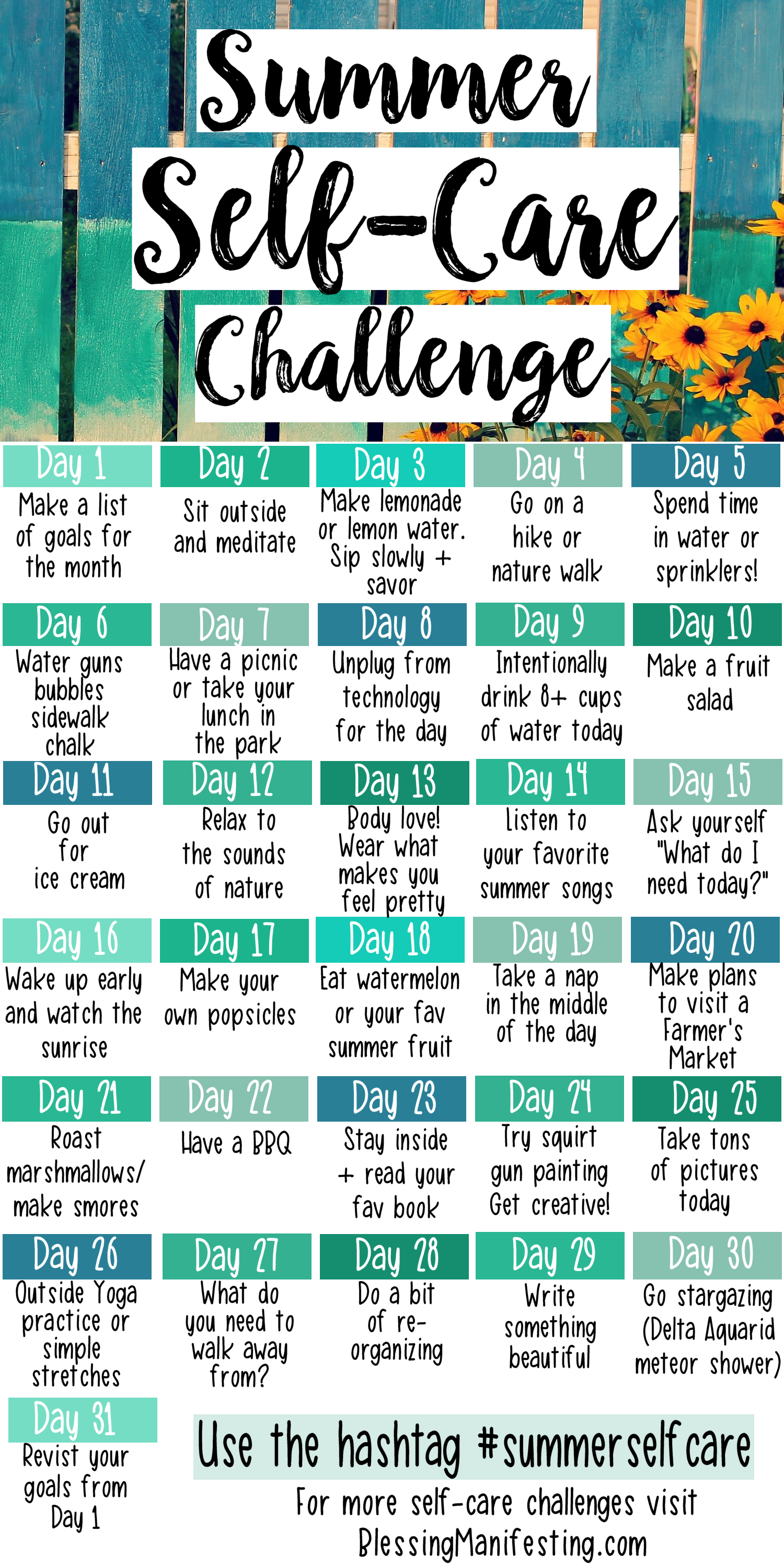 31 Summer Self Care Ideas
