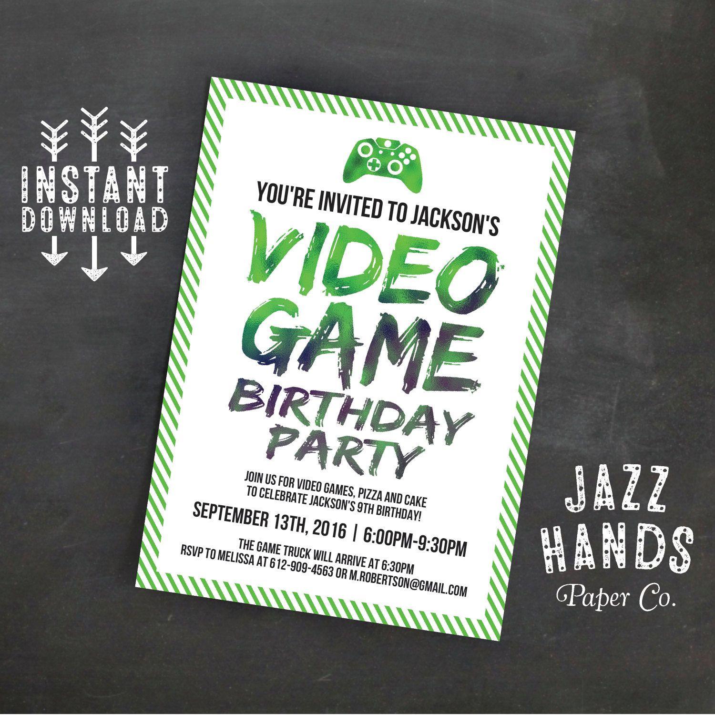 Printable Video Game Birthday Invitation Template | DIY | Video Game ...