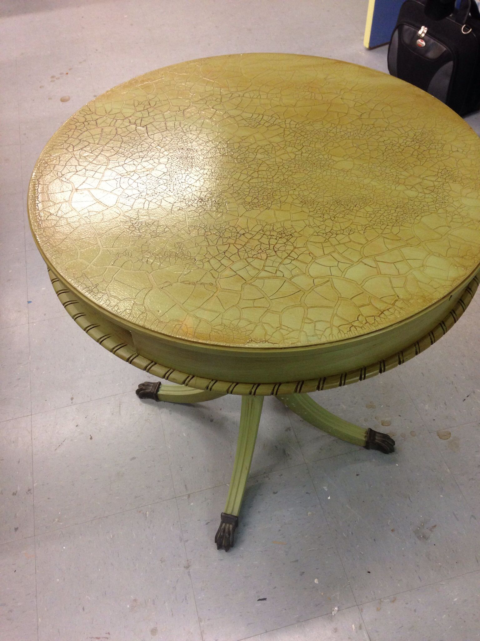 Lucketts Green Miss Mustard Seed Milk Paint Proceed Cracking Size and Transparent Cracking Glaze and Glaze Couture!(TM ) Amber Honey.  #glazecouture