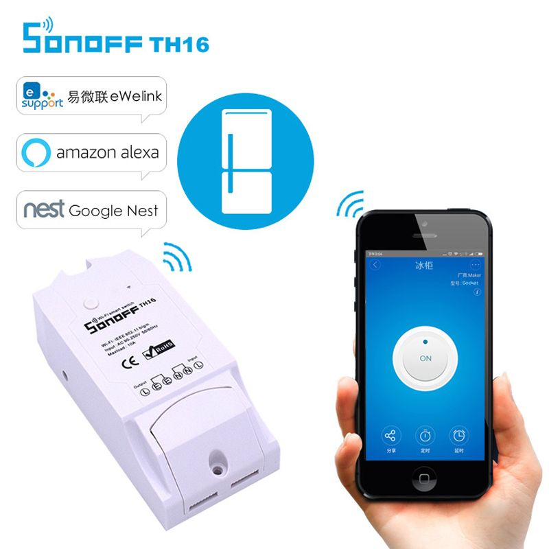 Sonoff Smart Wifi Switch Controller Th10a 16a With Temperature Sensor And Waterproof Humidity Monitoring Featur Home Automation A Lights Lighting App C