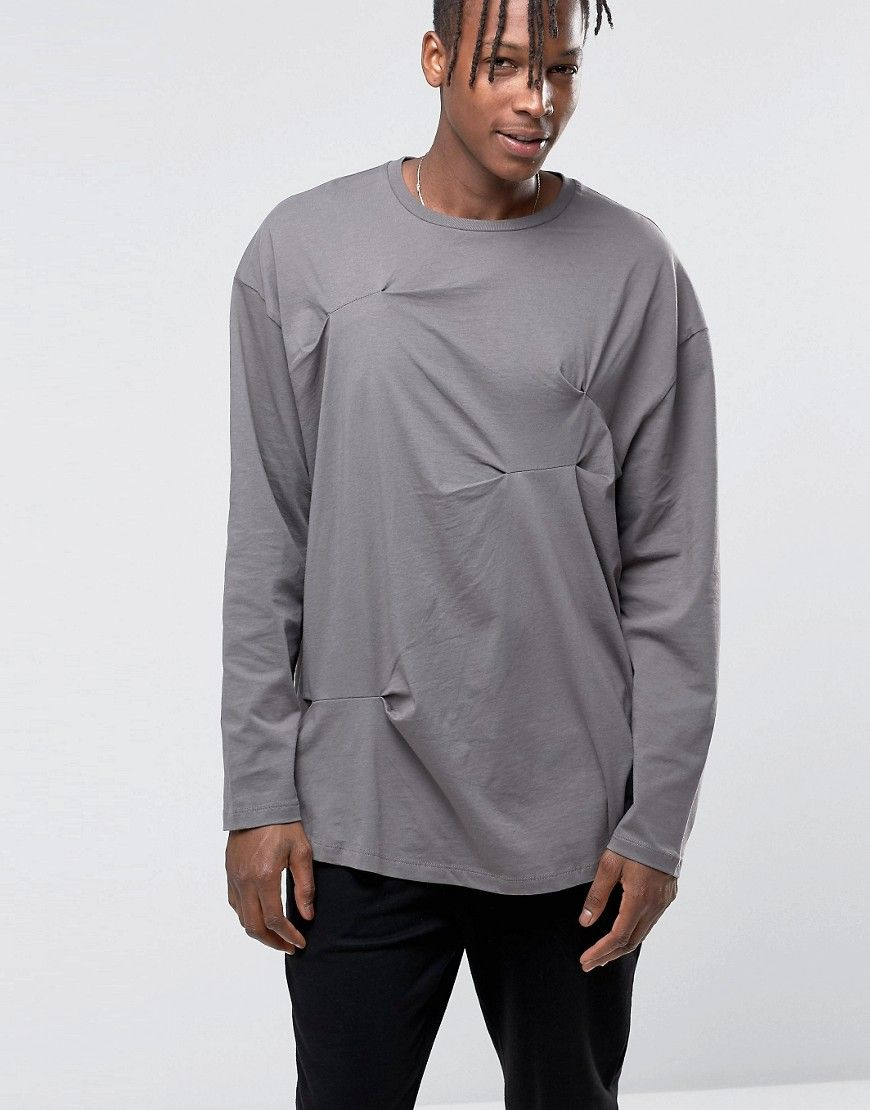 c95117a60533bb ASOS Oversized Long Sleeve T-Shirt With Crease Details - Gray ...