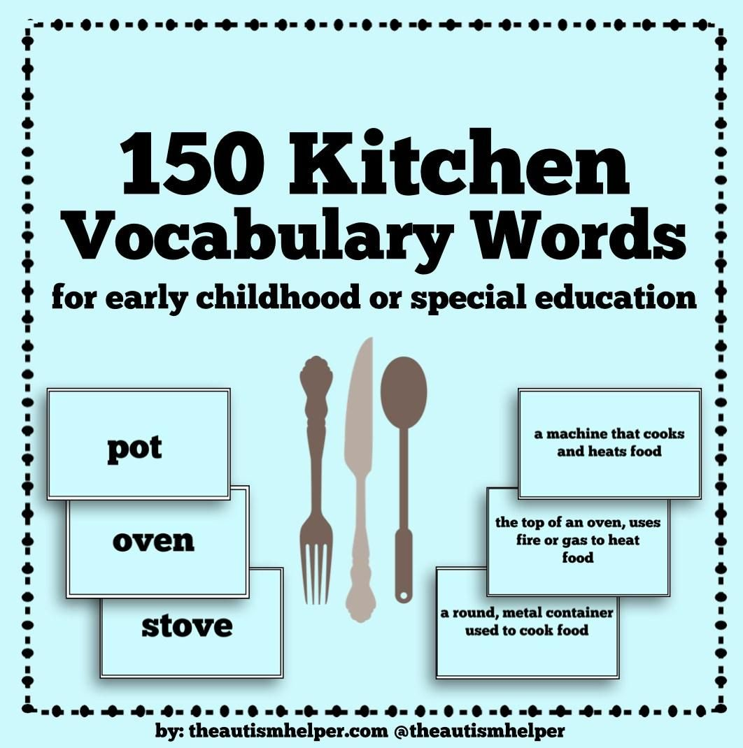 150 Kitchen Vocabulary Words For Special Education