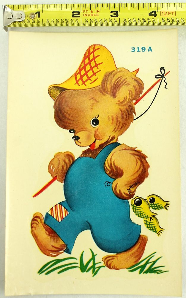Nos 1950s vintage duro decals country teddy bear boy fishing transfers 319